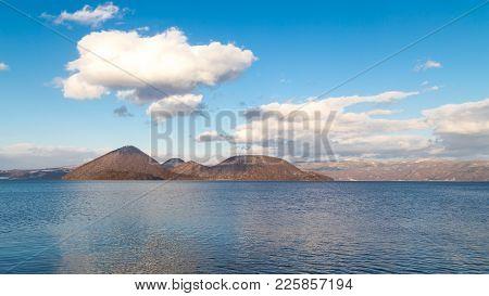 Lake Toya With Nakajima Island During Winter In Hokkaido Japan