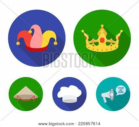 Crown, Jester's Cap, Cook, Cone. Hats Set Collection Icons In Flat Style Vector Symbol Stock Illustr