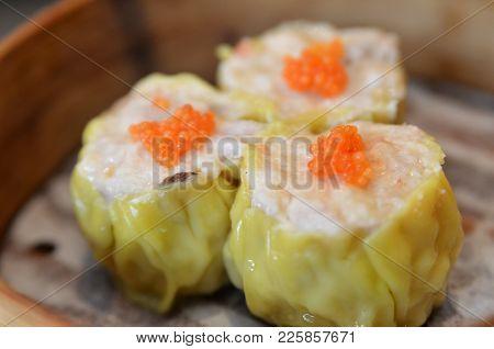 Famous Dim Sum, Siew Mai. Chinese Steamed Pork Dumplings