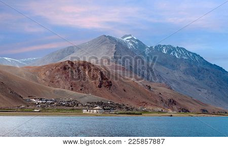 Korzok Village And Tso Moriri Lake In Ladakh, Jammu And Kashmir, North India. The Lake Is At An Alti