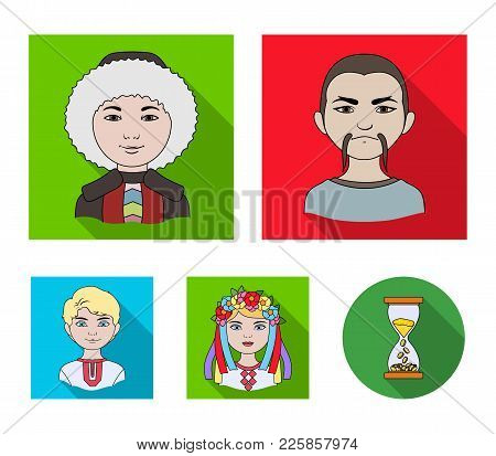 Chinese, Ukrainian, Russian, Eskimo. Human Race Set Collection Icons In Flat Style Vector Symbol Sto
