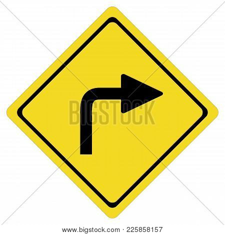 Turn Right Sign On White Background. Turn Right Symbol.