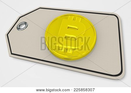 Bitcoin Price Tag Digital Crypto Currency Money 3d Illustration