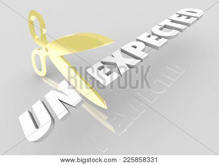 Unexpected Scissors Cutting Word Be Prepared 3d Illustration