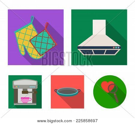 Kitchen Equipment Flat Icons In Set Collection For Design. Kitchen And Accessories Vector Symbol Sto