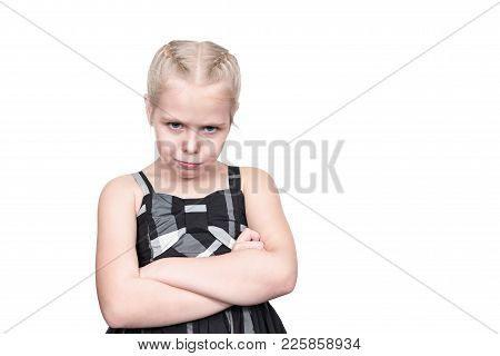 Portrait Of The Offended Young Girl With Pouty Lips, Isolated On A White Background