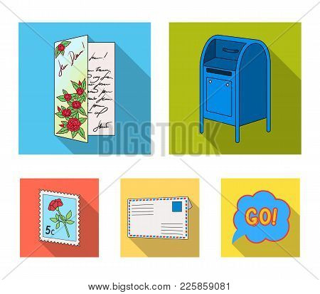Mailbox, Congratulatory Card, Postage Stamp, Envelope.mail And Postman Set Collection Icons In Flat