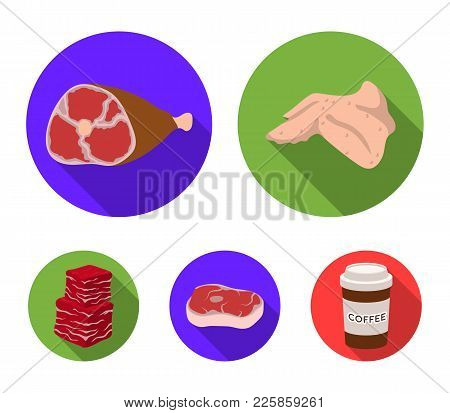 Chicken Wings, Ham, Raw Steak, Beef Cubes. Meat Set Collection Icons In Flat Style Vector Symbol Sto