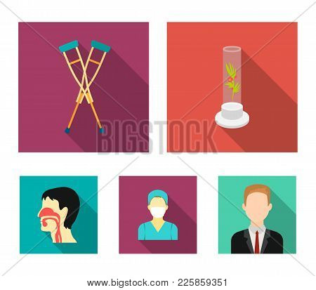 Plant In Vitro, Crutches, Nurse, Human Respiratory System. Medicine Set Collection Icons In Flat Sty