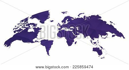 Rounded World Map On White Background In Ultra Violet Color.