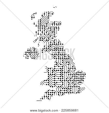 Abstract Schematic Map Of Great Britain From The Black Printed Board, Chip And Radio Component Of Ve
