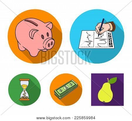 Bank, Business Schedule, Bundle Of Notes, Time Money. Money And Finance Set Collection Icons In Flat