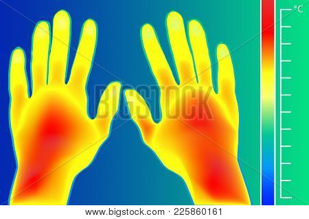 Thermal Imager Human Hands Vector Illustration. The Image Of A Male Arms Using Infrared Thermograph.
