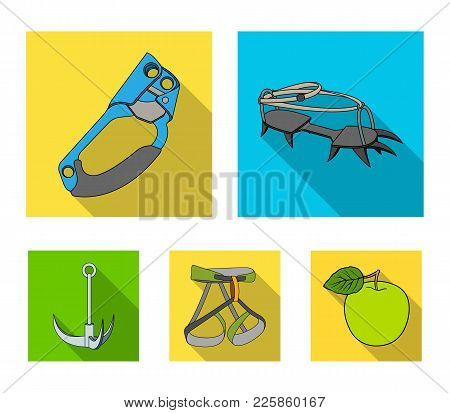 Hook, Mountaineer Harness, Insurance And Other Equipment.mountaineering Set Collection Icons In Flat