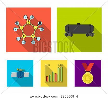 Railway Tank, Chemical Formula, Oil Price Chart, Pipeline Valve. Oil Set Collection Icons In Flat St