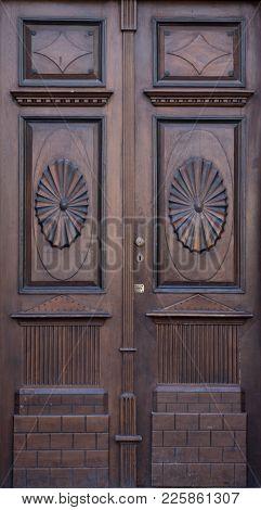Vintage Old Retro Wooden Brown Door Close-up