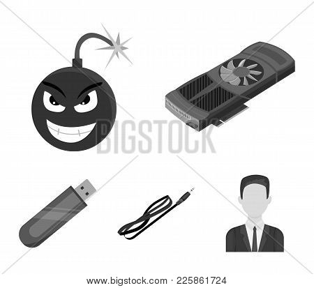 Video Card, Virus, Flash Drive, Cable. Personal Computer Set Collection Icons In Monochrome Style Ve