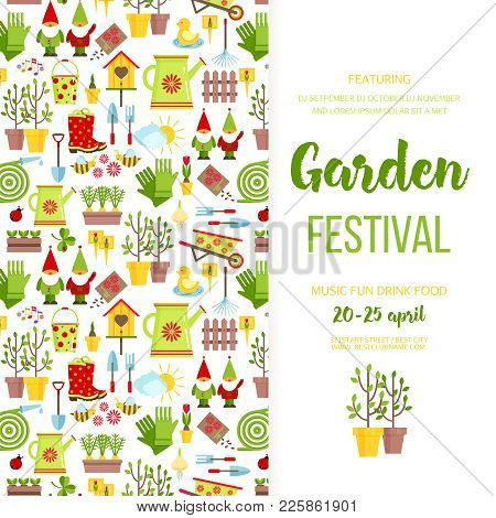 Garden Festival Banner Poster Template Design. Garden Care Icons Invitationholiday Invitation. Carto