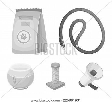 Leash, Feed And Other Zoo Store Products.pet Shop Set Collection Icons In Monochrome Style Vector Sy