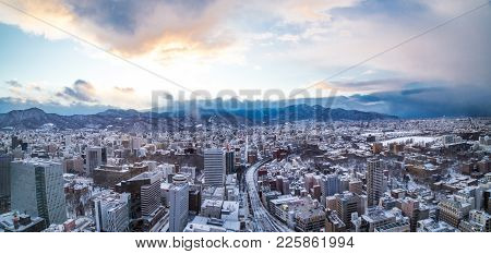 Sapporo, Japan, January 28, 2018:  Panorama Aerial Sunset View Of Central Sapporo City During Winter