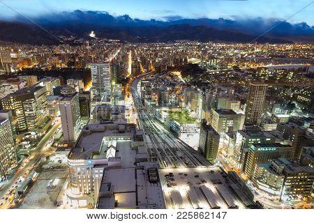 Sapporo, Japan, January 28, 2018: Dusk Hour Aerial View Of Central Sapporo City Hokkaido Japan Durin