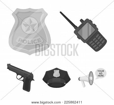 Radio, Police Officer's Badge, Uniform Cap, Pistol.police Set Collection Icons In Monochrome Style V