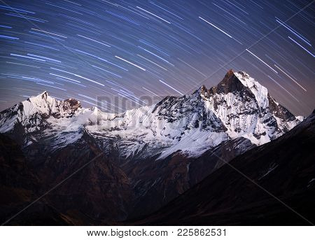 Panorama Of Mount Machapuchare, Fishtail At Night, View From Annapurna Base Camp In The Nepal Himala