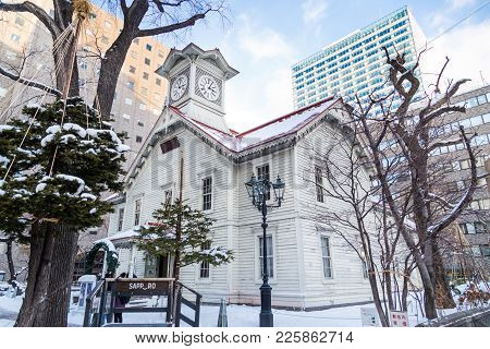 Sapporo, Japan, January 2, 2018: Sapporo Clock Tower Is A Wooden Structure And Tourist Attraction. T