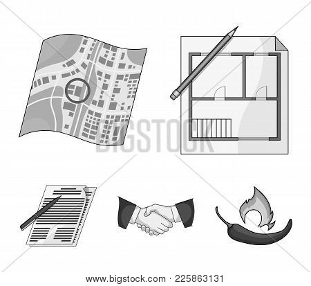 House Plan, Documents For Signing, Handshake, Terrain Plan. Realtor Set Collection Icons In Monochro