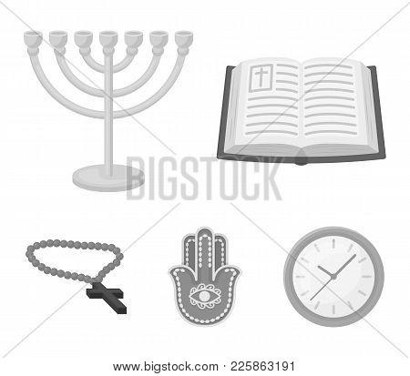 Bible, Menorah, Hamsa, Orthodox Cross.religion Set Collection Icons In Monochrome Style Vector Symbo