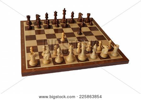 Photo Of Chess Opening On White Background. Dutch Defence.