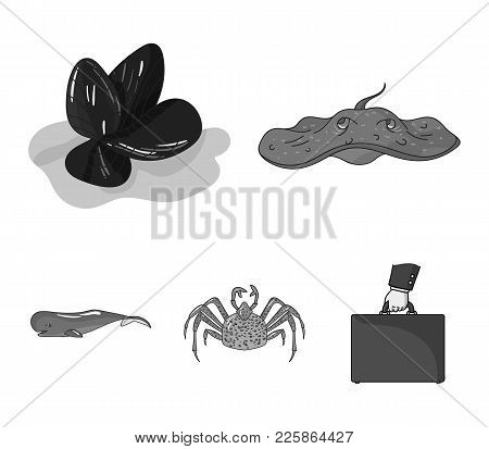 Electric Ramp, Mussels, Crab, Sperm Whale.sea Animals Set Collection Icons In Monochrome Style Vecto