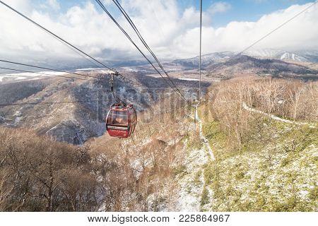 Noboribetsu, Japan, January 27, 2018: Ropeway Of Cable Care Transport Noboribetsu Bear Park Hokkaido