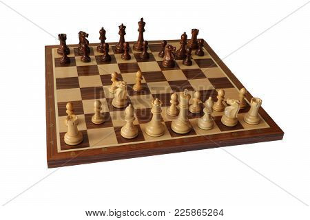 Photo Of Chess Opening On White Background. Kings Indian Defence.