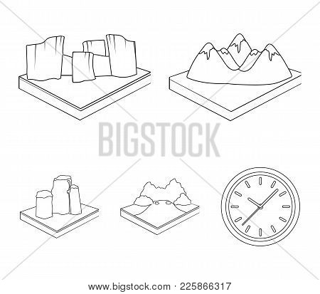 Mountains, Rocks And Landscape. Relief And Mountains Set Collection Icons In Outline Style Isometric