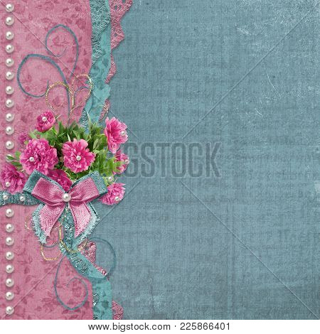 Old  Photo Album With Beautiful Pink Peonies