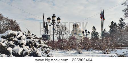 Aleksandar Nevski Cathedral Winter Time With Snow, Sofia, Bulgaria, Europe