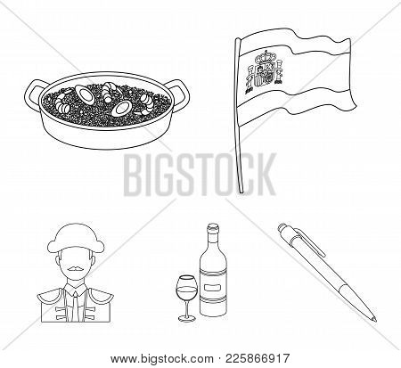 Flag With The Coat Of Arms Of Spain, A National Dish With Rice And Tomatoes, A Bottle Of Wine With A