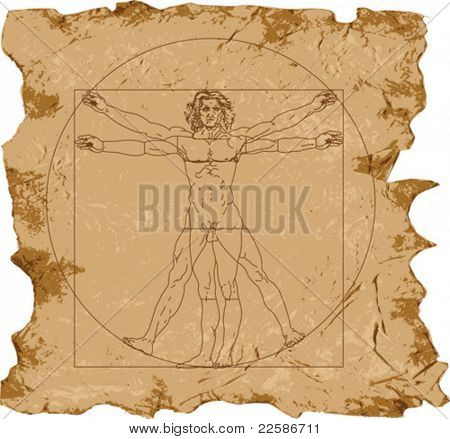 Leonardo's Vitruvian Man (vector); grunge background