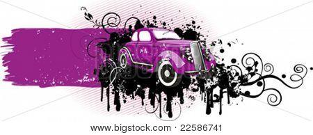 Ilustracja wektorowa rocznika samochodu różowy. Grunge wersji. Pla? e na tekst.