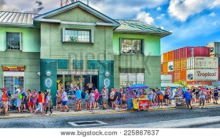 George Town, Grand Cayman, Cayman Islands, Feb 2018, Tourists By The Port Queuing To Re-embark On Th