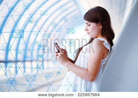 Girl with phone uses a worldwide network for correspondence, collage