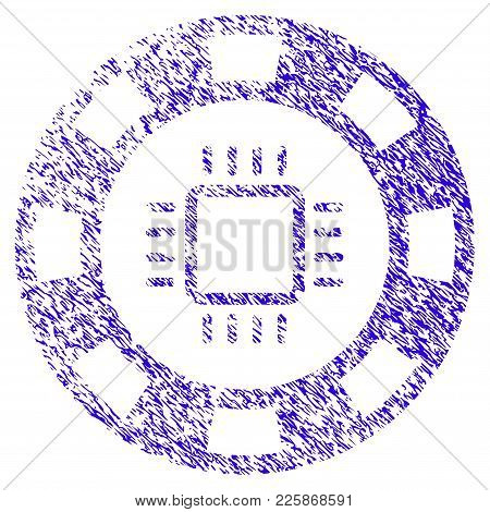 Grunge Cpu Casino Chip Rubber Seal Stamp Watermark. Icon Symbol With Grunge Design And Scratched Tex