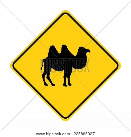 Camel Silhouette Animal Traffic Sign Yellow  Vector Illustration
