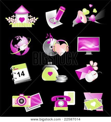 Valentine icons for website. Vector illustration.
