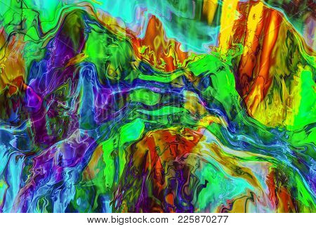 3d Rendering. The Glass Melt. Abstract Image Of Colored Shimmering Glass. Color Streams Of Fantastic