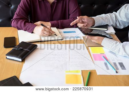 Tutor Book With Friends, Young Students Campus Or Classmates Helps Friend Catching Up Workbook And L