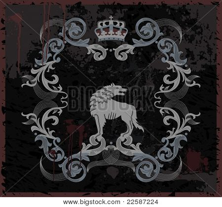 Vintage label with wolf and crown. Illustration.