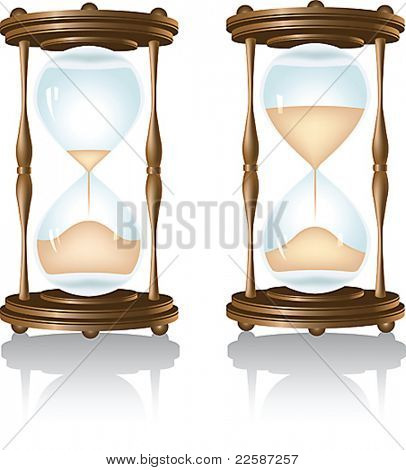 Hourglass, isolated on white. Vector illustration.