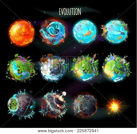 Stages Of The Origin Of Life On Earth, Evolution, Climate Changes, Technology Progress, Cataclysms,